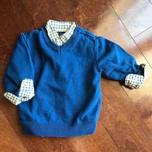 Button down collard striped shirt w/ blue sweater